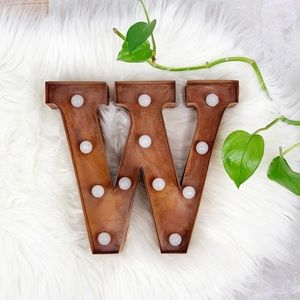 Nordstrom Rust Colored Letter W with Light Bulbs